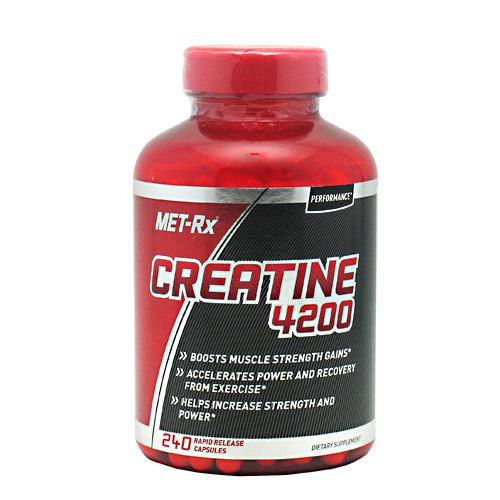 Creatine 4200 240 Caps by Met-Rx MET-Rx Creatine Capsules are a key, foundational supplement for athletes, bodybuilders, and anyone who is looking to get the most out of every workout. Adding the recommended amount of creatine to your daily regiment will help support your muscular strength, power, and your recovery from high-intensity exercise. Creatine also enhances the ability to produce higher muscular force, especially during short bouts of maximal exercise. This can result in increased reps during lifting! MET-Rx Creatine Capsules are made up of a creatine monohydrate, which helps promote exercise performance, helps promote athletic performance and helps increase strength and power.