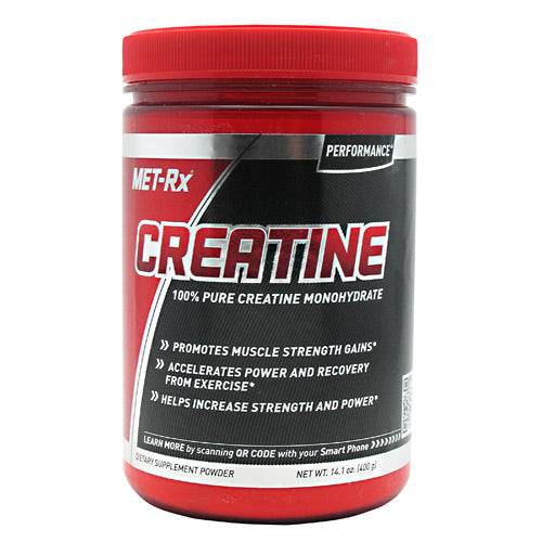 Creatine Powder 1.00 lbs by Met-Rx 100% Pure Creatine Monohydrate. Promotes muscle strength gains. Accelerates power and recovery from exercises. Helps increase strength and power. MET-Rx Creatine Powder is a key, foundational Supplement for athletes, bodybuilders and anyone who is looking to get the most out of every Workout. Adding the recommended amount of Creatine to your daily regimen will help support your muscle strength, power and recovery from High-intensity exercise. creatine also enhances The ability to produce higher muscular force, Especially during short bouts of maximal exercise. This can result in increased reps during lifting! MET-Rx Creatine Powder is made up of Creatine Monohydrate, which helps promote exercise Performance, helps promote athletic performance and helps increase strength and power.