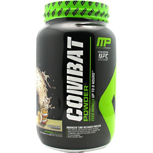 Combat Cookies & Cream 2 lbs by Muscle Pharm A precision engineered matrix, Combat Powder is ultimate timed-release protein super-food! Each of the distinct protein sources found within Combat Powder digest at varying rates-because of this unique feature, amino acids not only flood into the bloodstream within minutes after consumption, but for up to 8 hours afterward! What's in Combat Powder? Combat's Powerful Protein Sources: Whey Protein Isolate-Highest available yield of protein, gram for gram, of any whey protein source, WPI absorbs quickly into the muscle tissues and has immune-boosting properties to protect the body system during periods of intense training. Partially Hydrolyzed Whey Protein- Hydrolyzed whey is protein that's been broken down into fast-absorbing peptides. The fastest absorbing of all forms of whey, hydrolyzed whey hits the bloodstream first, providing a rapid infusion of muscle-building amino acids. Micellar Casein-very slow-digesting, micellar casein has the capability of slowing infusing amino acids over several hours, protecting muscle tissue from breakdown over time. There is no substitute for the anti-catabolic effects of micellar casein. Whey Protein Concentrate-closer to the whole food sources than other whey proteins, concentrate contains real food subfractions such as alpha-lactoglobulins and lactoferrins, with specific immune boosting and muscle-building properties. EGC Albumen-highly bio-available and well-tolerated by most individuals, egg albumen has a high BCAA content and arginine. Egg albumen is a powerful contributor to hormone product and the muscle-building process. Digestive Enzyme Blend: Digestive enzymes break down food along the digestive tract so that nutrients can be absorbed into the bloodstream. Combat contains 60mg of a Digestive Enzyme Blend to aid in the digestion and absorption of the key muscle-building proteins contained herein. The body cannot absorb what it cannot break down. The added Digestive Enzyme Blend 