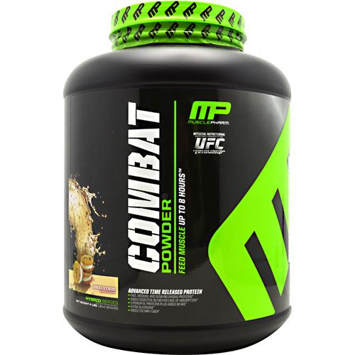 Combat Cookies & Cream 4 lbs by Muscle Pharm A precision engineered matrix, Combat Powder is ultimate timed-release protein super-food! Each of the distinct protein sources found within Combat Powder digest at varying rates-because of this unique feature, amino acids not only flood into the bloodstream within minutes after consumption, but for up to 8 hours afterward! What's in Combat Powder? Combat's Powerful Protein Sources: Whey Protein Isolate-Highest available yield of protein, gram for gram, of any whey protein source, WPI absorbs quickly into the muscle tissues and has immune-boosting properties to protect the body system during periods of intense training. Partially Hydrolyzed Whey Protein- Hydrolyzed whey is protein that's been broken down into fast-absorbing peptides. The fastest absorbing of all forms of whey, hydrolyzed whey hits the bloodstream first, providing a rapid infusion of muscle-building amino acids. Micellar Casein-very slow-digesting, micellar casein has the capability of slowing infusing amino acids over several hours, protecting muscle tissue from breakdown over time. There is no substitute for the anti-catabolic effects of micellar casein. Whey Protein Concentrate-closer to the whole food sources than other whey proteins, concentrate contains real food subfractions such as alpha-lactoglobulins and lactoferrins, with specific immune boosting and muscle-building properties. EGC Albumen-highly bio-available and well-tolerated by most individuals, egg albumen has a high BCAA content and arginine. Egg albumen is a powerful contributor to hormone product and the muscle-building process. Digestive Enzyme Blend: Digestive enzymes break down food along the digestive tract so that nutrients can be absorbed into the bloodstream. Combat contains 60mg of a Digestive Enzyme Blend to aid in the digestion and absorption of the key muscle-building proteins contained herein. The body cannot absorb what it cannot break down. The added Digestive Enzyme Blend 
