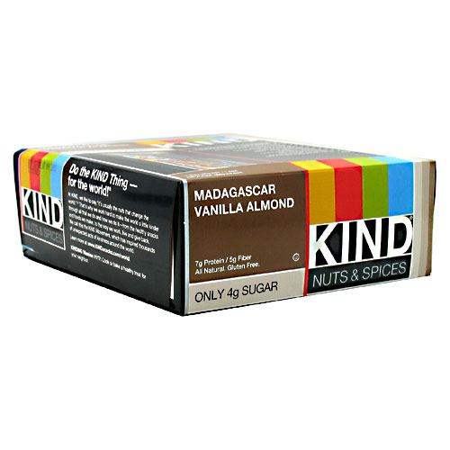 Snacks Kind Bar Vanilla Almond 1.4 lbs(case of 12) by Kind Fruit & Nut Bars 6g protein/ 5g Fiber. All natural/non GMO. Gluten free. No sugar alcohols. Low Glycemic. Very low sodium. Dairy free. Cholesterol free. No trans fats. No sulphur dioxide. No hydrogenated oils. Do the Kind thingfor your body! At Kind, we craft delicious, all natural, healthful foods from wholesome ingredients you can see Kind healthy grains. Kind healthy grains are delicious, snackable clusters made of 100% whole grains and tasty superfoods, hand-crafted to give you more health benefits in every bite. Enjoy them any time of day by the handful, with yogurt or with milk! On-the-go! Over yogurt! With milk! Do the Kind thing  for the world! At Kind, we like to say,  it's usually the nuts that change the world.  That's why we work hard to make the world a little kinder through all that we do and how we do itfrom the healthy snacks and foods we make, to the way we work, live and give back. We call this the Kind movement, which has inspired thousands of unexpected acts of kindness around the world. Do the Kind thingfor your body, your taste buds, people with an uncontrollable love for Kind and spreading the kindness. Kindly yours, Daniel Lubetzky. Kind founder with 6g of protein and 5g of fiberkeep you fuller longer. A study by the Yale-Griffin Prevention Research Center indicates that eating 2 Kind bars a day helps prevent weight gain. Learn more at www.KINDsnacks.com.