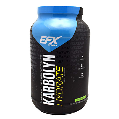 Karbolyn Hydrate Lemon Lime 4 lbs by All American Efx Elite athletes know they must push harder and harder to achieve the highest levels of performance. When it comes to sports drinks, they need the one that's formulated to win!- Karbolyn Hydrate. Our researchers have developed whey they believe is the perfect formula to help athletes rehydrate, fight fatigue, and quickly restore critical electrolytes. Athletes need real fuel, not sugar, for sustained energy and endurance. Karbolyn Hydrate is sugar-free, yet it can power you through the most grueling workout, competition, or anything that requires extended energy at peak levels. Maximum performance requires maintaining a proper balance of key electrolytes, such as sodium and potassium. Unfortunately, other drinks include too much sodium which can disrupt vital potassium levels. But not Karbolyn Hydrate! It contains a precise ratio of the 4 electrolytes (sodium, potassium, magnesium, and phosphate) critical to sports performance and recovery.