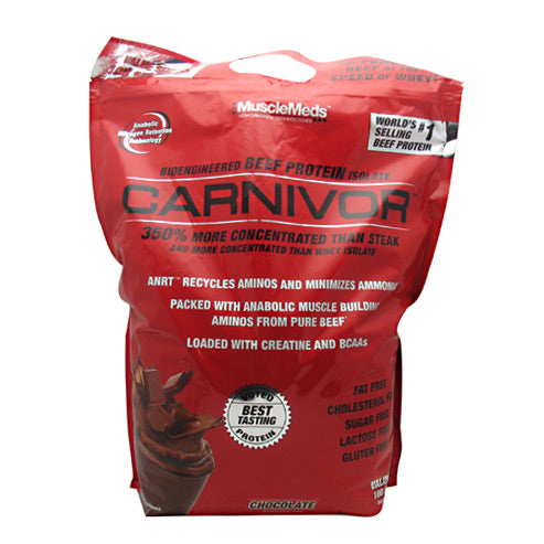 Carnivor Chocolate 8 lbs by Muscle Meds Using new advanced extraction, clarification, hydrolysis and isolation technologies CARNIVOR's Bioengineered Beef Protein Isolate delivers the muscle building power of beef with higher amino acid levels than all other protein sources used in supplements, including whey, soy, milk and egg. CARNIVOR Beef Protein Isolate is even 350% more concentrated in anabolic muscle building aminos than a prime sirloin steak! And it has no fat or cholesterol!MuscleMeds exclusive Anabolic Nitrogen Retention Technology (ANRT) is specially designed to allow the recycling of amino acids back toward the muscle-building pathway and prevents the build-up of debilitating toxic scavengers such as ammonia. Carnivor is the only protein with this technology that is capable of recycling aminos back into the anabolic muscle building pathways for increased nitrogen retention and improves muscle growth and performance.CARNIVOR goes beyond the normal high creatine content of beef. To push the anabolic activation and cell volumizing effects of creatine even greater, each serving of CARNIVOR supplies 20 times more creatine than steak to saturate your muscles for explosive strength and growth. To further boost the anabolic muscle building action of CARNIVOR, additional BCAAs are added to the purified Beef Protein Isolate to promote a positive nitrogen balance, increase protein synthesis, decrease catabolism, improve workout performance and reduce muscle fatigue.