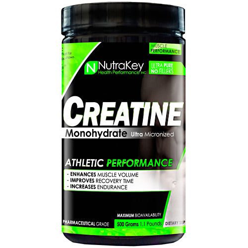 CREATINE MONOHYDRATE 500 grams by Nutrakey Pharmaceutical grade HPLC certified 100% pure! Micronized for maximum bio-availability. What is Creatine?Creatine is naturally produced in the human body from amino acids primarily in the kidney and liver. Approximately 95% of the human body's total creatine is located in skeletal muscle. Creatine is manufactured from amino acids L-arginine, glycine, and L-methionineBenefit Of Using Creatine Monohydrate Volumize Muscle SizeEnhance Strength Dramatically Boost EnduranceQuickly replenish ATPMaximize Energy ProductionBuffers Lactic Acid for More Intense WorkoutsNo Cramping or Upset Stomach.How Does Creatine Work?Creatine bonds with Phosphorus in the body making Creatine Phosphate (CP) which is a high energy compound used by muscles for instant energy needs. CP breaks down directly into Adenosine Tri-Phosphate (ATP, heat energy) the body's primary source of energy. Any fast powerful movements such as weight lifting or sprinting, for example, are fueled by CP. Skeletal muscle holds CP in high amounts depending on the level of conditioning. Muscles that perform high energy movements frequently will have, and require much larger concentrations of Creatine, free form aminos, and proteins. Holding more creatine means your body will physically be able to perform more work.Boosts Muscle Strength, Strength and EnduranceCreatine is one of the most researched and important sports supplements today. It has become a must for athletes wanting to increase workout intensity while delaying the onset of fatigue. Research has shown that supplementing with creatine can boost muscle size, strength and endurance, improve athletic performance, and speed muscle recovery. Saturating your muscles with creatine improves your body's ability to quickly replenish and recycle ATP, which increases muscle energy and delays muscle fatigue. Studies show that when athletes supplement with creatine while weight training, they can quickly gain lean body mass and st