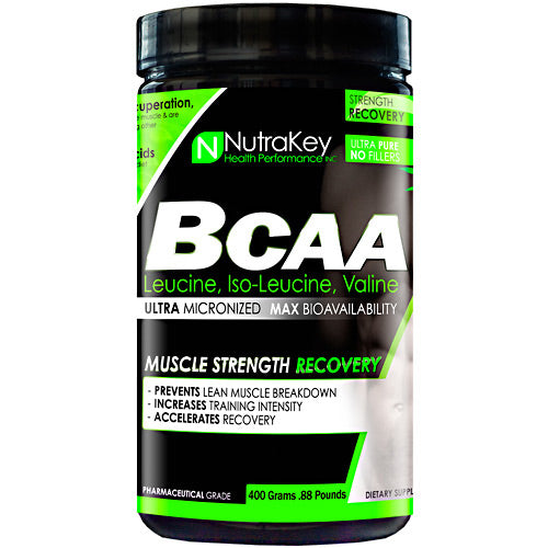 BCAA 400 grams by Nutrakey NutraKey products are Pharmaceutical grade ultra-pure for maximum bioavailability. Pure amino acid with no fillers or additives. HPLC verified.Branched-chain amino acid (BCAA) is the name given to three of the eight essential amino acids needed to make protein: leucine, isoleucine and valine. They are called branched-chain because their structure has a 'branch' off the main trunk of the molecule. The combination of these three essential amino acids makes up approximately one-third of skeletal muscle in the human body. The body cannot produce BCAA's on its own, but must obtain through diet or supplementation. In order to get energy, the body can actually break down muscle to get these BCAAs. By supplementing BCAAs during and after your workout, you can prevent muscle tissue breakdown, which occurs as a natural part of metabolism.Almost 1/3 of muscle tissue is composed of BCAA which are needed for muscle growth, the maintenance of muscle tissue and to preserve muscle stores of glycogen. BCAA's can turn on the main muscle growth pathway in muscle tissue which can increase protein synthesis and help prevent muscle tissue breakdown after strenuous exercise. Each serving of NutraKey ultra-micronized BCAA provides the three free form branched chain amino acids; L-Luecine, L-Valine and L-Isoleucine in the proper 2:1:1 ratio and is available in either pure powder or capsules.Benefits of Branch Chain Amino Acids: Essential for Protein Synthesis  Increase Strength  Improves Nitrogen Retention  Speeds Muscle Recovery  Enhanced Energy Levels  Reduces Muscle Fatigue  Helps Preserve Lean MuscleMuscle tissues are comprised of two proteins, actin and myosin. The main components of the two proteins are leucine, isoleucine, and valine, which are called branched chain amino acid (BCAAs) for their molecular structures. BCAAs accounts for about 35% of the essential amino acids contained in myoproteins. Replenishment of BCAAs increases the raw materials for musc