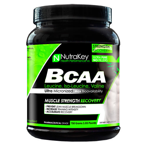 BCAA 750 grams by Nutrakey NutraKey products are Pharmaceutical grade ultra-pure for maximum bioavailability. Pure amino acid with no fillers or additives. HPLC verified.Branched-chain amino acid (BCAA) is the name given to three of the eight essential amino acids needed to make protein: leucine, isoleucine and valine. They are called branched-chain because their structure has a 'branch' off the main trunk of the molecule. The combination of these three essential amino acids makes up approximately one-third of skeletal muscle in the human body. The body cannot produce BCAA's on its own, but must obtain through diet or supplementation. In order to get energy, the body can actually break down muscle to get these BCAAs. By supplementing BCAAs during and after your workout, you can prevent muscle tissue breakdown, which occurs as a natural part of metabolism.Almost 1/3 of muscle tissue is composed of BCAA which are needed for muscle growth, the maintenance of muscle tissue and to preserve muscle stores of glycogen. BCAA's can turn on the main muscle growth pathway in muscle tissue which can increase protein synthesis and help prevent muscle tissue breakdown after strenuous exercise. Each serving of NutraKey ultra-micronized BCAA provides the three free form branched chain amino acids; L-Luecine, L-Valine and L-Isoleucine in the proper 2:1:1 ratio and is available in either pure powder or capsules.Benefits of Branch Chain Amino Acids: Essential for Protein Synthesis  Increase Strength  Improves Nitrogen Retention  Speeds Muscle Recovery  Enhanced Energy Levels  Reduces Muscle Fatigue  Helps Preserve Lean MuscleMuscle tissues are comprised of two proteins, actin and myosin. The main components of the two proteins are leucine, isoleucine, and valine, which are called branched chain amino acid (BCAAs) for their molecular structures. BCAAs accounts for about 35% of the essential amino acids contained in myoproteins. Replenishment of BCAAs increases the raw materials for musc