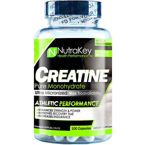 CREATINE 750 mg 100 caps by Nutrakey Pharmaceutical grade HPLC certified 100% pure! Micronized for maximum bio-availability. What is Creatine?Creatine is naturally produced in the human body from amino acids primarily in the kidney and liver. Approximately 95% of the human body's total creatine is located in skeletal muscle. Creatine is manufactured from amino acids L-arginine, glycine, and L-methionineBenefit Of Using Creatine Monohydrate Volumize Muscle SizeEnhance Strength Dramatically Boost EnduranceQuickly replenish ATPMaximize Energy ProductionBuffers Lactic Acid for More Intense WorkoutsNo Cramping or Upset Stomach.How Does Creatine Work?Creatine bonds with Phosphorus in the body making Creatine Phosphate (CP) which is a high energy compound used by muscles for instant energy needs. CP breaks down directly into Adenosine Tri-Phosphate (ATP, heat energy) the body's primary source of energy. Any fast powerful movements such as weight lifting or sprinting, for example, are fueled by CP. Skeletal muscle holds CP in high amounts depending on the level of conditioning. Muscles that perform high energy movements frequently will have, and require much larger concentrations of Creatine, free form aminos, and proteins. Holding more creatine means your body will physically be able to perform more work.Boosts Muscle Strength, Strength and EnduranceCreatine is one of the most researched and important sports supplements today. It has become a must for athletes wanting to increase workout intensity while delaying the onset of fatigue. Research has shown that supplementing with creatine can boost muscle size, strength and endurance, improve athletic performance, and speed muscle recovery. Saturating your muscles with creatine improves your body's ability to quickly replenish and recycle ATP, which increases muscle energy and delays muscle fatigue. Studies show that when athletes supplement with creatine while weight training, they can quickly gain lean body mass and strength