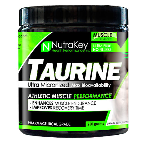 TAURINE 250 grams by Nutrakey Athletic Muscle Performance. Enhances muscle endurance. Improves recovery time. Taurine or L-Taurine is an amino acid that is considered to be the second most abundant in the body's muscle after glutamine. Taurine has been known to increase muscle mass, muscle strength & power, reduce muscle damage caused by exercise, accelerate recovery between workouts, and may also have an inulin-like effect in the body, helping to load essential neutrients into muscle. High muscle concentrations of Taurine seem to be of the utmost importance for high performance athletes. A relatively high amount of studies have been performances on Taurine. A two week study involving Taurine depletion methods of intense and exhaustive exercise released that subjects who supplemented Taurine did not have any depletion of the amino acid in their body. Taurine differs from the most other amino acids because it is not incorporated into proteins. However, it does play many significant roles in the body including: osmoregulation, and modulation of excitatory neurotransmission and intracellular calcium levels. The average Taurine intake in humans is estimated at 60mg daily. With supplementation, one can far exceed this amount and readily increase Taurine levels in many tissues, which leads to enhanced physical performance.