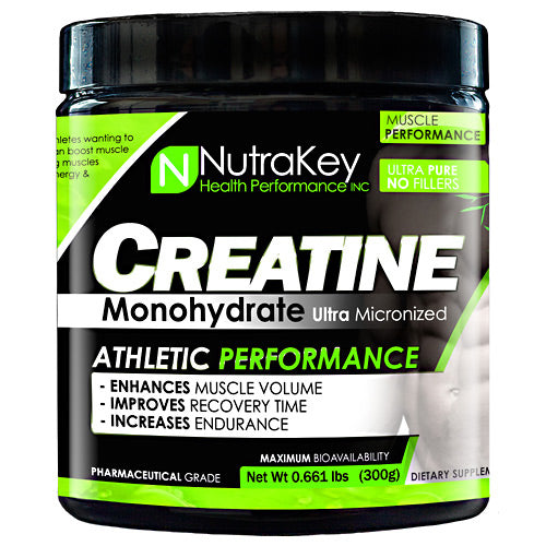 CREATINE MONOHYDRATE 300 grams by Nutrakey Creatine monohydrate ultra micronized. Athletic performance. Enhances muscle volume, improves recovery time, increase endurance. Pharmaceutical grade. Benefits of Creatine Monohydrate: volumize muscle size improving strength & power. Dramatically boost endurance & improve performance, quickly replenish ATP for peak power, maximize body's production of energy, buffer lactic acid for added reps & more intense workouts. Creatine Boosts Muscle Strength, Strength and Endurance: Creatine is one of the most researched and important sports supplements today. It has become a must for athletes wanting to increase workout intensity while delaying the onset of fatigue. Research has shown that supplementing with creatine can boost muscle size, strength and endurance, improve athletic performance, and speed muscle recovery. Saturating your muscles with creatine improves your body's ability to quickly replenish and recycle ATP, which increases muscle energy and delays muscle fatigue. Creatine Improves Exercise Recovery Time: Lactic acid is a by-product from anaerobic (without oxygen) exercise, such as weight training. Lactic acid is responsible for the 'burning' sensation when the muscle becomes fatigued. When you cannot train anymore, it is due to you either having run out of energy or a buildup of lactic acid. Creatine may act as a buffer for this lactic acid, which helps to delay the onset of fatigue. Creatine Stimulates Protein Synthesis: It has been demonstrated that creatine may also promote muscle growth by stimulating protein synthesis in two ways. Firstly, from the increased work you are able to do as a result of its energy replenishing actions. Secondly is that the more creatine phosphate (CP) that is stored in muscle, the more water is drawn into muscle making it fuller and stronger. With more CP and water in muscle, the volume increases, and the muscle cell is volumized or 'super-hydrated'. Creatine & Branched Chain Amino Acid