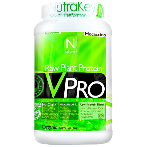 VPRO PROTEIN Mochachino 30 serving by Nutrakey Raw Plant Protein. No Dairy, No Soy, No Animal. Pea. Brown Rice. Quinoa. Spirulina. Artichoke. Amaranth. Gluten Free, Non GMO. Good nutrition creates health in all areas of our lives. The importance of protein to balance health is often underestimated. According to a Harvard School of Public Health, a lack of protein can lead to muscle loss, decreased immunity, heart problems, and respiratory issues. Choosing a diet rich in plant protein or protein derived from grain legumes yields an extra bonus, eliminating the risk associated with saturated fats found in animal protein. Animal protein vs Plant protein sources. A 6-ounce broiled porterhouse steak is a great source of complete protein  about 40 grams worth. But it also delivers 38 grams of fat, 14 of them saturated. That's more than 60 percent of the recommended daily intake for saturated fat. The same amount of salmon gives you 34 grams of protein and 18 grams of fat, 4 of them saturated. A cup of cooked lentils has 18 grams of protein, but under 1 gram of fat, providing a much higher protein to fat ratio. What is hypoallergenic. VPro Raw Plant Protein is hypoallergenic. This means it will not irritate the stomach and is easier to digest than other sources of protein. People with gastrointestinal ailments such as irritable bowel syndrome, food allergies, or who are lactose intolerant may find it difficult to digest meat, dairy, and other sources of protein. Plant proteins are a safe and healthy alternative. Pure non-GMO plant protein. Plants are an excellent source of complete protein. High digestibility, absorption, & upset stomach. Helps maintain & build lean muscle. Amino acids helps prevent muscle breakdown. Contains 23g of protein per serving. Low in fat and has only 4g of carbs per serving. Provides all essential amino acids. Naturally cholesterol-free. Rice protein is high in sulfur-containing amino acids cysteine and methionine, but low in lysine. Pea protein,