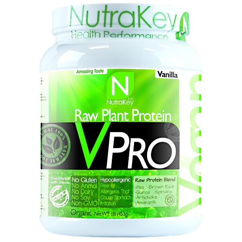 VPRO PROTEIN Vanilla 15 serving by Nutrakey Raw Plant Protein. No Dairy, No Soy, No Animal. Pea. Brown Rice. Quinoa. Spirulina. Artichoke. Amaranth. Gluten Free, Non GMO. Good nutrition creates health in all areas of our lives. The importance of protein to balance health is often underestimated. According to a Harvard School of Public Health, a lack of protein can lead to muscle loss, decreased immunity, heart problems, and respiratory issues. Choosing a diet rich in plant protein or protein derived from grain legumes yields an extra bonus, eliminating the risk associated with saturated fats found in animal protein. Animal protein vs Plant protein sources. A 6-ounce broiled porterhouse steak is a great source of complete protein  about 40 grams worth. But it also delivers 38 grams of fat, 14 of them saturated. That's more than 60 percent of the recommended daily intake for saturated fat. The same amount of salmon gives you 34 grams of protein and 18 grams of fat, 4 of them saturated. A cup of cooked lentils has 18 grams of protein, but under 1 gram of fat, providing a much higher protein to fat ratio. What is hypoallergenic. VPro Raw Plant Protein is hypoallergenic. This means it will not irritate the stomach and is easier to digest than other sources of protein. People with gastrointestinal ailments such as irritable bowel syndrome, food allergies, or who are lactose intolerant may find it difficult to digest meat, dairy, and other sources of protein. Plant proteins are a safe and healthy alternative. Pure non-GMO plant protein. Plants are an excellent source of complete protein. High digestibility, absorption, & upset stomach. Helps maintain & build lean muscle. Amino acids helps prevent muscle breakdown. Contains 23g of protein per serving. Low in fat and has only 4g of carbs per serving. Provides all essential amino acids. Naturally cholesterol-free. Rice protein is high in sulfur-containing amino acids cysteine and methionine, but low in lysine. Pea protein, on