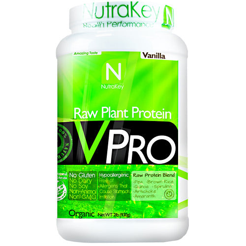 VPRO PROTEIN Vanilla, 2 Lb by Nutrakey Raw Plant Protein. No Dairy, No Soy, No Animal. Pea. Brown Rice. Quinoa. Spirulina. Artichoke. Amaranth. Gluten Free, Non GMO. Good nutrition creates health in all areas of our lives. The importance of protein to balance health is often underestimated. According to a Harvard School of Public Health, a lack of protein can lead to muscle loss, decreased immunity, heart problems, and respiratory issues. Choosing a diet rich in plant protein or protein derived from grain legumes yields an extra bonus, eliminating the risk associated with saturated fats found in animal protein. Animal protein vs Plant protein sources. A 6-ounce broiled porterhouse steak is a great source of complete protein  about 40 grams worth. But it also delivers 38 grams of fat, 14 of them saturated. That's more than 60 percent of the recommended daily intake for saturated fat. The same amount of salmon gives you 34 grams of protein and 18 grams of fat, 4 of them saturated. A cup of cooked lentils has 18 grams of protein, but under 1 gram of fat, providing a much higher protein to fat ratio. What is hypoallergenic. VPro Raw Plant Protein is hypoallergenic. This means it will not irritate the stomach and is easier to digest than other sources of protein. People with gastrointestinal ailments such as irritable bowel syndrome, food allergies, or who are lactose intolerant may find it difficult to digest meat, dairy, and other sources of protein. Plant proteins are a safe and healthy alternative. Pure non-GMO plant protein. Plants are an excellent source of complete protein. High digestibility, absorption, & upset stomach. Helps maintain & build lean muscle. Amino acids helps prevent muscle breakdown. Contains 23g of protein per serving. Low in fat and has only 4g of carbs per serving. Provides all essential amino acids. Naturally cholesterol-free. Rice protein is high in sulfur-containing amino acids cysteine and methionine, but low in lysine. Pea protein, on the 