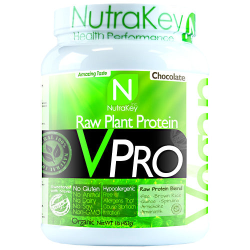 VPRO PROTEIN Chocolate 15 serving by Nutrakey Raw Plant Protein. No Dairy, No Soy, No Animal. Pea. Brown Rice. Quinoa. Spirulina. Artichoke. Amaranth. Gluten Free, Non GMO. Good nutrition creates health in all areas of our lives. The importance of protein to balance health is often underestimated. According to a Harvard School of Public Health, a lack of protein can lead to muscle loss, decreased immunity, heart problems, and respiratory issues. Choosing a diet rich in plant protein or protein derived from grain legumes yields an extra bonus, eliminating the risk associated with saturated fats found in animal protein. Animal protein vs Plant protein sources. A 6-ounce broiled porterhouse steak is a great source of complete protein  about 40 grams worth. But it also delivers 38 grams of fat, 14 of them saturated. That's more than 60 percent of the recommended daily intake for saturated fat. The same amount of salmon gives you 34 grams of protein and 18 grams of fat, 4 of them saturated. A cup of cooked lentils has 18 grams of protein, but under 1 gram of fat, providing a much higher protein to fat ratio. What is hypoallergenic. VPro Raw Plant Protein is hypoallergenic. This means it will not irritate the stomach and is easier to digest than other sources of protein. People with gastrointestinal ailments such as irritable bowel syndrome, food allergies, or who are lactose intolerant may find it difficult to digest meat, dairy, and other sources of protein. Plant proteins are a safe and healthy alternative. Pure non-GMO plant protein. Plants are an excellent source of complete protein. High digestibility, absorption, & upset stomach. Helps maintain & build lean muscle. Amino acids helps prevent muscle breakdown. Contains 23g of protein per serving. Low in fat and has only 4g of carbs per serving. Provides all essential amino acids. Naturally cholesterol-free. Rice protein is high in sulfur-containing amino acids cysteine and methionine, but low in lysine. Pea protein, 