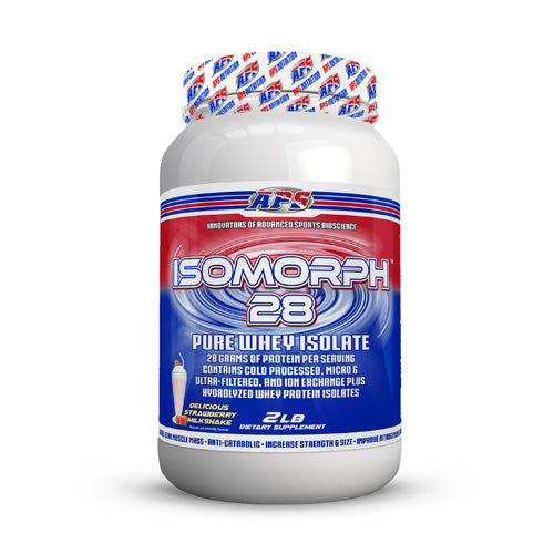 Isomorph 28 Strawberry Milkshake 2 lbs by Aps Nutrition IsoMorph 28 pure whey isolate is the endall  beall AAArated whey protein isolate product. In fact  its not just a whey protein isolateit is 4 ultrapure whey protein isolate  including hydrolyzed whey protein isolate. APS manufactures IsoMorph 28 pure whey isolate in our GMP facility. We guarantee this to be the purest and freshest whey protein isolate available anywhere. 90% of the companies that sell protein dont actually manufacture it theyre just marketers. At APS Nutrition  we manufacture our protein in our own GMP facility  so we control all aspects of the manufacturing process from start to finish. IsoMorph 28 pure whey isolate contains extremely small protein molecules that are literally 18x smaller than the proteins from almost every other product on the market (1000 Daltons vs 18 000 Daltons). This means that they can be completely absorbed because the intestinal wall allows them to pass through thanks to their small size. Since these small proteins get into your bloodstream via the small intestine  they get to work right away and require minimal effort from your digestive system. IsoMorph 28 pure whey isolate provides the highest quality whey isolate protein available with a higher amino acid profile  gram for gram  than ordinary whey protein. Protein is for everyone! Whether youre a bodybuilder  athlete  business professional  or student  protein is an essential component of overall health! IsoMorph 28 pure whey isolate gives you a quick and economical way to increase your daily protein intake. Each serving contains a complete array of whey protein fractions  is high in the essential amino acids  and rich in glutamine peptides  giving you the right tools for muscle growth and preservation. IsoMorph 28 pure whey isolate contains only the purest  highest quality whey protein isolate to help you reach your health and fitness goals. Whey protein isolate is 90% protein by weight  making it low in carbs  l