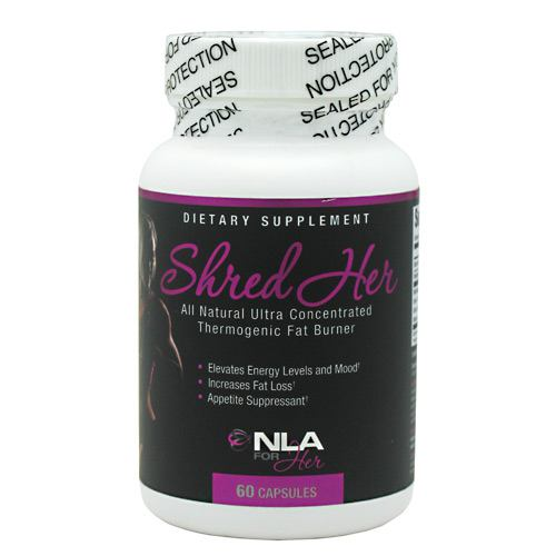 Shred Her 60 caps by Nla For Her All Natural Ultra-Concentrated Thermogenic Fat Burner. Elevated Energy Levels And Mood. Increase Fat Loss. Appetite Suppressant. Shred Her is so effective due to our innovative, natural, ultra concentrated blend of the following top-of-the-line ingredients: Green Tea Extract: A powerful antioxidant that contributes to increased weight loss, helps prevent free radical oxidation, and helps slow the aging process of cells. Raspberry Ketones: Causes the fat within your cells to get broken up more effectively, helping your body burn fat faster when paired with regular exercise. Raspberry Ketones also helps regulate adiponectin, a protein used by the body to regulate metabolism. Caffeine: The most common stimulant and thermogenic. Caffeine helps increase energy, lift mood, increases thermogenesis (your body generates heat and energy) and may increase fat burning when taken pre-workout. Citrus Aurantium Extract: The most notable benefits of Citrus Aurantium extract are its ability to increase resting metabolic rate, resulting in weight loss. It also exhibits a powerful thermogenic effects, generating heat and energy in your body. Ursolic Acid: One of the newest and most effective ingredients that helps reduce fat storage and increases fat burning, reduces the conversion of blood sugar to fat, increases energy reserves in muscles, and contributes to increased lean muscle mass.