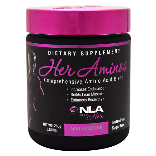 Her Aminos Watermelon 0.75 lbs by Nla For Her Comprehensive Amino Acid Blend. Increases Endurance. Builds Lean Muscle. Enhances Recovery. Gluten Free. Sugar Free. Her Aminos is our blend of Amino Acids designed to be taken at any time of the day to fuel your muscles with nutrients that increase protein synthesis, help prevent catabolism, and enhance recovery. Supplementing with Her Aminos on a daily basis will improve your recovery time in between workouts, allowing you to bounce back quicker from intense exercise and come back stronger the next session!Her Aminos, when combined with regular exercise and a healthy diet is designed to support: Recovery in between training sessions, Resistance to muscular fatigue, Anti-Catabolism (Prevents muscle wasting), Intra-Workout Muscular Endurance.