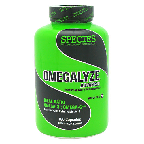 OMEGALYZE 180 gelc. by Species Nutrition Essential fatty acid formula. Ideal ratio omega-3: omega-6. Fortified with Palmitoleic Acid. Omegalyze Advanced contains an ideal ratio of polyunsaturated Omega-3 and Omega-6 fatty acids. These fats, also known as the essential fatty acids (EFAs), help the body to maintain healthy levels of cholesterol, normal blood pressure, and a healthy response to inflammation following workouts, as well as optimize the body's hormone levels and maximize the body's muscle growth and recovery. Omegalyze Advanced is fortified with palmitoleic acid, an omega-7 monounsaturated fatty acid, that has been shown to support the body's maintenance of healthy cholesterol, blood sugar, and c-reactive protein levels.