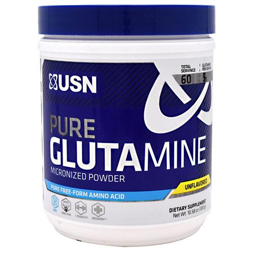 Micronized Glutamine 10.58 oz by USN Pure Micronized Powder. A Pure, Free-Form Anti-Catabolic Amino Acid. For muscle recovery. L-Glutamine is a conditionally essential amino acid. During intense training, the L-Glutamine levels in your muscles drop sharply. This, in turn, decreases strength, stamina and recovery. Research demonstrates that following a rigorous workout, it may take up to six days for L-Glutamine levels to return to normal without supplementation. Without adequate levels of L-Glutamine, it is impossible for protein synthesis to occur. L-Glutamine also increases cell volumization immediately, increasing sarcoplasmic fluid levels, improving your muscle 'pump' and aiding in muscle protein synthesis. Research has shown that L-Glutamine helps muscle cells to utilize both protein and carbohydrates. L-Glutamine acts as a powerful ammonia scavenger.