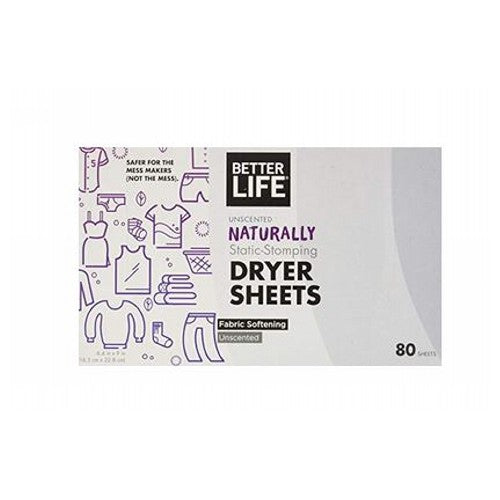 Dryer Sheet Unscented 80 CT by Better Life UnscentedNaturally Static StompingFabric Softening