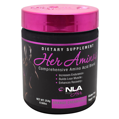 Her Aminos Orange Creamsicle 30/S by Nla For Her Comprehensive Amino Acid Blend. Increases Endurance. Builds Lean Muscle. Enhances Recovery. Gluten Free. Sugar Free. Her Aminos is our blend of Amino Acids designed to be taken at any time of the day to fuel your muscles with nutrients that increase protein synthesis, help prevent catabolism, and enhance recovery. Supplementing with Her Aminos on a daily basis will improve your recovery time in between workouts, allowing you to bounce back quicker from intense exercise and come back stronger the next session!Her Aminos, when combined with regular exercise and a healthy diet is designed to support: Recovery in between training sessions, Resistance to muscular fatigue, Anti-Catabolism (Prevents muscle wasting), Intra-Workout Muscular Endurance.