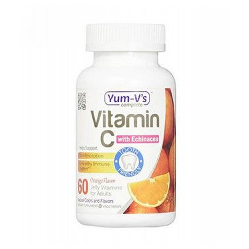 Vitamin C with Echinacea Orange 60 Count by Dulce Probiotics Dietary Supplement: Vitamin C helps the body absorb iron and is essential for immune health. Each serving of YUM-V's Complete daily supplements contains 400% of the recommended daily allowance of Vitamin C.