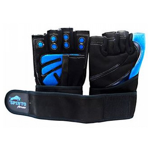 Men's Workout Gloves Blue, Small 1 Pair by Spinto USA LLC Spinto fitness, Men's Workout Glove w/ Wrist Wraps. Fully Adjustable wrist wrap provides maximum support and flexibility, Improves grip and increases stability, Comfort layered fabric maintains shape after use and washing, No-Sweat lining helps keep hands dry.