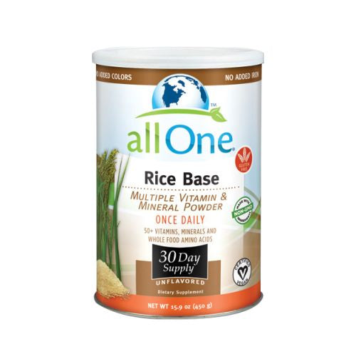 Multiple Vitamin and Mineral Powder, Rice Base 15.9 OZ (30 Day Supply) by All-One (Nutri-Tech) Rice Base supplies high potency vitamins, minerals, and amino acids in a pure formula that is iron free, dairy free and suitable for vegans. ALL ONE Powder Multiple Vitamins & Minerals Rice Base. Some people prefer not to consume milk-based proteins, so Rice Base formula uses a nutritional base that is derived entirely from rice protein. This makes it the perfect total-nutrition supplement for vegetarians and those who want to avoid dairy products, it also has no iron. Current research suggests that many Americans already get sufficient iron. Furthermore, it seems the body is very good at retaining and recycling its store of iron ??? more so for men, since women lose some iron during their monthly cycle. Rice Base contains the full spectrum of pure high-potency vitamins, minerals and amino acids found in Original Formula. This is nutrition at its purest.Rice Base containing absolutely no animal products, this high-fiber protein base is derived from rice that???s been enzymatically digested by purified plant enzymes. Amino Acids. High Potency B-Complex & Anti-Oxidants. Chelated Minerals. Vegan. Pure nutrition for purists. Not only is Rice Base formula 100% assimilable, high potency nutrition, it also contains absolutely no animal products - making it the perfect total - nutrition supplement for vegetarians and those who want to avoid dairy products.