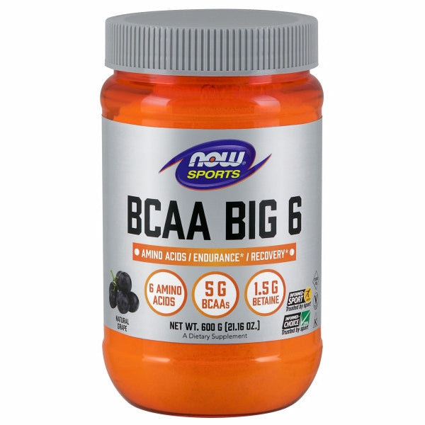 BCAA Big 6 Grape Flavor 600 Grams by Now Foods BCAA Big 6 is an advanced caffeine-free sports supplement formulated to support exercise endurance and recovery from intense workouts.* BCAA Big 6 features branched-chained amino acids (BCAAs) to support muscle retention and recovery, and betaine to help maintain fluid balance during exercise.* BCAA Big 6 also has taurine, which can further support endurance.* BCAA Big 6 includes citrulline and glutamine to complement this formula.Natural color variation may occur in this product.