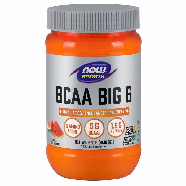 BCAA Big 6 Watermelon Flavor 600 Grams by Now Foods BCAA Big 6 is an advanced caffeine-free sports supplement formulated to support exercise endurance and recovery from intense workouts.* BCAA Big 6 features branched-chained amino acids (BCAAs) to support muscle retention and recovery, and betaine to help maintain fluid balance during exercise.* BCAA Big 6 also has taurine, which can further support endurance.* BCAA Big 6 includes L-citrulline and L-glutamine to complement this formula.