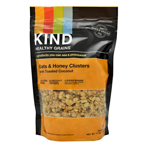Healthy Grains Clusters Oats & Honey 11 Oz by Kind Fruit & Nut Bars Do the Kind Thing - for your body, your taste buds, & the world! Welcome to the Kind community! Here at Kind we think a little differently. Instead of OR we say AND. We choose healthy and tasty, convenient and wholesome, economically sustainable and socially impactful. From the healthy snacks and foods we make, to the way we work, live, and give back, our goal is to make the world a little kinder. We call this the Kind Movement, which has inspired thousands of unexpected acts of kindness around the world. Kindly Yours, Daniel Lubetzky, Kind Founder & CEO. A different Kind of whole grain...Kind Healthy Grains are delicious, artisanal blends of nature's most healthful whole grains and superfoods hand-crafted to give you more health benefits in every bite! Peanut Butter Whole Grain Clusters are a good source of protein and contain 16g of whole grains. Protein increases satiety and strengthens bones, muscles and skin. Whole Grains Amaranth, Quinoa, Oats, Millet & Buckwheat provide essential nutrients, such as vitamins, minerals, dietary fiber, and protein, which help achieve a balance diet and maintain a healthy weight. Enjoy any way you like: On-the-go! Over yogurt! With milk! Made in the USA. 5g protein. 100% whole grains. 16g Amaranth, Quinoa, Oats, Millet & Buckwheat. Gluten Free. All Natural. No Refined Sugars. Non GMO. No Trans Fats. Cholesterol Free. Low Sodium.