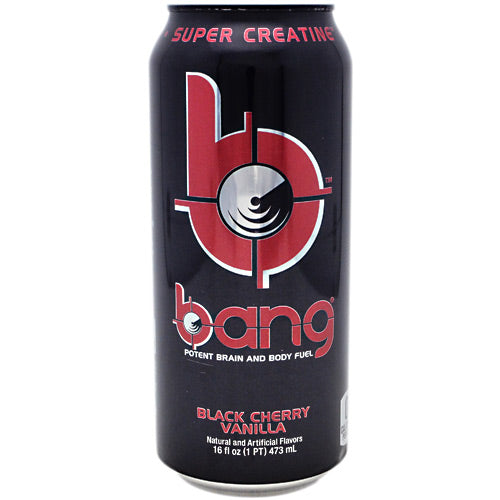 Bang RTD Black Cherry Vanilla 12 X 16 Oz by VPX Sports Nutrition VPXs BANG! is now the worlds only stable liquid creatine. One serving of BANG! with an array of muscle-pumping anabolic nutrients such as leucine and creatinol-o-phosphate, plus the acid buffering capacity of anserine, BANG! is truly the leader in the category of causing amazing anabolic drive. Research in the VPX laboratories showed that when subjected to high temperatures and acid conditions, creatine monohydrate converts rapidly to creatinine. BANG! on the other hand was the epitome of stability. Build muscle faster than greenie can hug a tree. Consume BANG!! VPXs next generation muscle-building RTD!