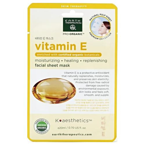 Facial Sheet Mask Vitamin E .02 Oz by Earth Therapeutics Facial Sheet Mask Vitamin E .02 Oz by Earth Therapeutics