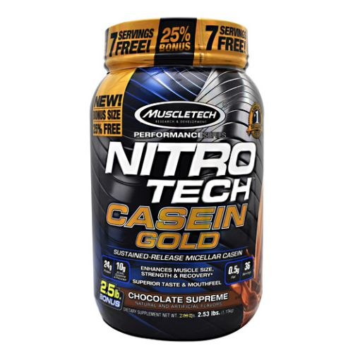 NitroTech Casein Gold Chocolate 2.5 lbs by Muscletech A Superior Amino Acid Profile. 10g of Anabolic BCAAs  Glutamine and Precursor for Better Muscle Protein Synthesis and Recovery. Superior ColdProcessed  UltraPure MicroFiltered Protein Blend Featuring Micellar Casein. Compared To Typical Casein Powders  Nitro Tech Casein Gold Has A Better Texture For A Superior Flavor Profile.Its Highly Anabolic And AntiCatabolic Formula Promotes A MuscleBuilding Environment For Longer Periods Of Time.
