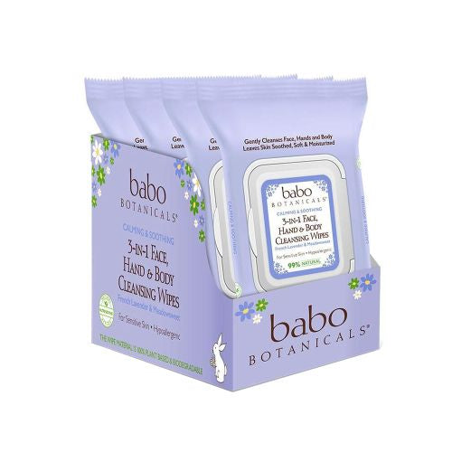 3-in-1 Calming Wipes French Lavender 4 X 30 Count by Babo Botanicals Babo's 3-in-1 Face, Hands & Body Wipes gently cleanse face, hands and body without rinsing, leaving skin soothed, soft and moisturized. These plush wipes are formulated for sensitive and delicate skin with calming and soothing Lavender and Meadowsweet. These multi-taskers are great for babies, kids, and grown-ups too. Great for use after yoga, post workout, or as a makeup remover.