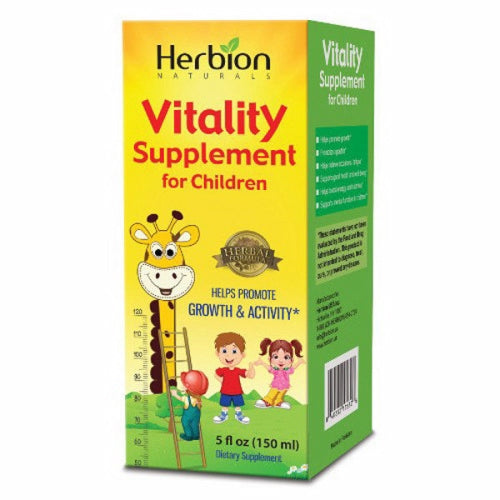 Vitality Supplement for Children 5 Oz by Herbion Improves Mental and Physical Development When kids are fatigued, suffer from slow growth and have little or no appetite, no one's happy. Vitality Supplement helps to restore your kids? strength so they can develop both mentally and physically. Improves Mental and Physical Development When kids are fatigued, suffer from slow growth and have little or no appetite, no one's happy. Vitality Supplement helps to restore your kids? strength so they can develop both mentally and physically.