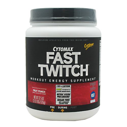 FAST TWITCH Fruit Punch 20 Servings by Cytosport Caffeinated Pre-Workout SupplementFlavored with Other Natural FlavorsNutrition System