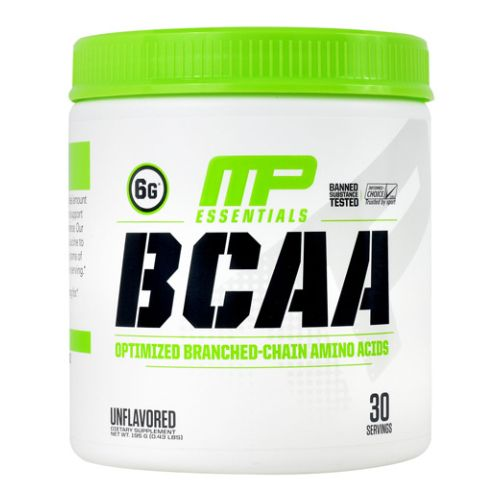Essentials BCAA Unflavored 30 Servings by Muscle Pharm MusclePharm BCAA offers a unique patent-pending ratio 3 Leucine, 1 Isoleucine, 2 Valine that is specifically tuned to deliver the ideal amounts of these three amino acids during all phases of muscle development and maintenance. Through this formulation, amino acids are released both before and after a workout. MP BCAA minimizes muscle damage, while supporting increased lean body mass.