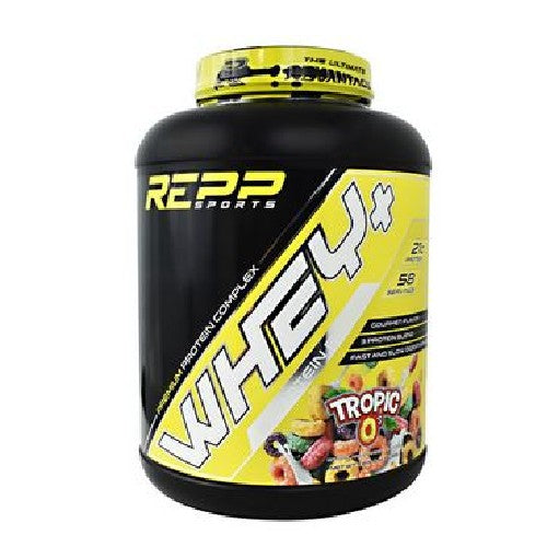 Whey + Premium Protein Tropic O's 4 lbs by Repp Sports Whey + Delivers A Protein Perfect For Any Situation. Element 1: Whey Isolate: Whey + Protein Blend Features the Purest Form of Whey Protein. Highly Refined, With Low Lactose And Carbs, Whey Protein Isolate Is Easily Digestible And Delivers The Highest Ratio Of Protein To Weight With The Lowest Amount Of Calories. Perfect For Lean Meal Support. Element 2: Whey Concentrate: Cold Processed, Micro Filtered, And Completely Undenatured, Whey + Whey Protein Concentrate Delivers Sub Fraction Protein Peptides Which Are Lost During The Additional Processing Of Whey Protein Isolate. Sub Fraction Peptides Such As Lactoferrin Boast Unique Active Health Properties And Can Further Aid Muscle Repair. Perfect For Pre Workout Support. Element 3: Whey Hydrolysate: Protein That Is Broken Into Smaller Protein Fragments Through A Process Called 'Enxymatic Hydrolysis,' Whey Protein Hydrolysis Is Rapidly Digested And Shuttled Directly Into Muscle Tissue.