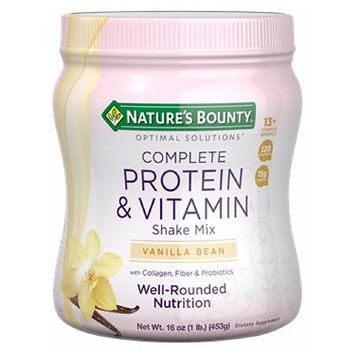 Complete Protein & Vitamin Shake Mix Vanilla 6 X 16 Oz by Nature's Bounty Complete Protein & Vitamin Shake Mix is an exciting way to get the nutrients you need most.* Our Chocolate and Vanilla flavors are a decadent Optimal Solutions for health.
