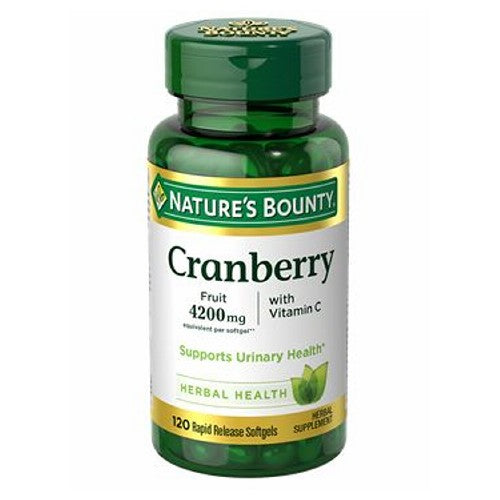 Cranberry Plus Vitamin C 24 X 120 Softgels by Nature's Bounty Cranberries help support the integrity of bladder walls to promote urinary health in both men and women.* This product also contains Vitamin C that plays a role in supporting immune function.* Made from the finest cranberry concentrate available.