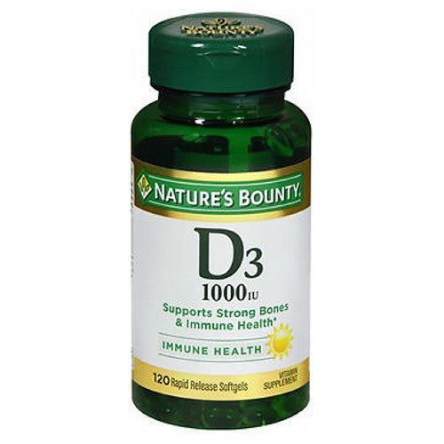 Nature's Bounty Vitamin D 24 X 120 Softgels by Nature's Bounty Vitamin D3 is an essential nutrient that works with calcium to help develop strong bones and teeth.* Vitamin D3 also supports normal antibody production by the immune system and supports breast health.* An analysis of 5 studies concluded that increasing vitamin D intake up to 2000 IU per day could promote colon health.* Recent evidence also indicates that increasing vitamin D intake can support the health of the pancreas.* Supplementing with vitamin D3 is an easy and convenient way to increase your daily vitamin D intake. No artificial color, flavor or sweetener, preservatives, sugar, starch, milk, lactose, gluten, wheat, yeast, fish. Sodium free. *These statements have not been evaluated by the Food and Drug Administration. This product is not intended to diagnose, treat, cure or prevent any disease.
