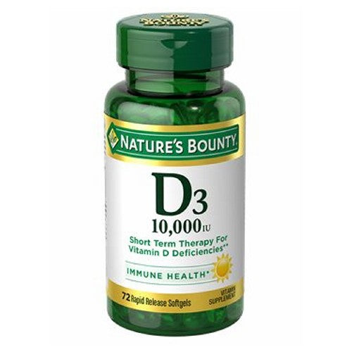 Vitamin D3 24 X 72 Softgels by Nature's Bounty Vitamin D - the  Sunshine Vitamin  is an essential nutrient that the body creates by converting cholesterol in the body via sunshine. However, today's culture of cubicles, sunscreen, and near-round-the-clock indoor living minimizes our exposure to natural sunlight for the needed period of time for sufficient Vitamin D to form. Supplementing with Nature's Bounty Vitamin D3 is an easy way to increase your daily intake of this important nutrient.