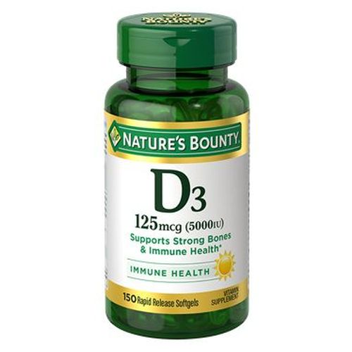 Vitamin D3 24 X 150 Softgels by Nature's Bounty Vitamin D - the  Sunshine Vitamin  is an essential nutrient that the body creates by converting cholesterol in the body via sunshine. However, today's culture of cubicles, sunscreen, and near-round-the-clock indoor living minimizes our exposure to natural sunlight for the needed period of time for sufficient Vitamin D to form. Supplementing with Nature's Bounty Vitamin D3 is an easy way to increase your daily intake of this important nutrient.