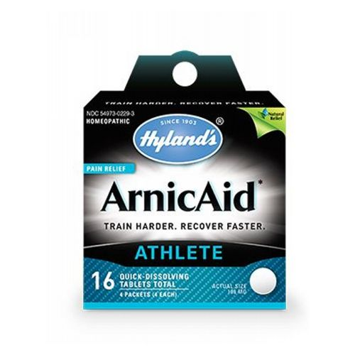 Arnicaid 16 Tablets by Hylands Temporarily relieves the symptoms of pain, bruising, muscle soreness and swelling due to minor injuries from falls, strains and sprains.