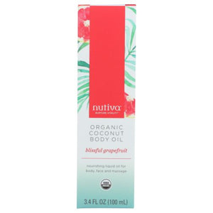 Organic Coconut Body Oil Grape Fruit 3.4 Oz by Nutiva