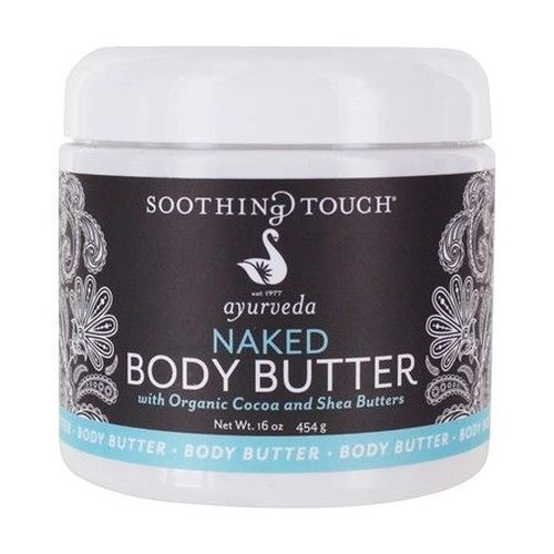 Naked Body Butter 16 Oz by Soothing Touch When your skin needs the ultimate moisture, nourish your body head to toe with this luxurious, fast-absorbing formula. Made with Organic Cocoa and Shea Butters to lock in the moisture, plus Coconut Oil and Organic Fair-Trade Palm Wax which are concentrated with vitamins, antioxidants and anti-aging nutrients to keep skin healthy. This unique body butter is also made with Murumuru Butter which helps restore elasticity to aging or damaged skin. Perfect for hands and other rough spots, like heels, knees and elbows. Use all over, as often as desired.