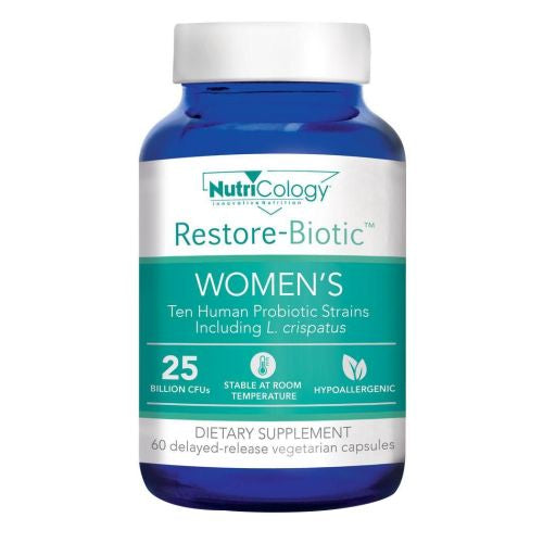 Restore-Biotic Women's 60 Veg Caps by Nutricology/ Allergy Research Group Ten human probiotic strains, especially formulated for women, including L. crispatus.* 25 billion CFUs per delayed-release vegetarian capsule. Non-dairy, gluten-free, and stable at room temperature - no refrigeration required.This formula utilizes only non-GMO probiotic strains, which are neither derived from nor produced using genetically modified organisms (GMOs), or their derivatives.