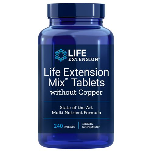 Life Extension Mix Tablets without Copper 240 Tabs by Life Extension A daily supplement that provides all the high-potency vitamins and minerals needed to form the cornerstone of a comprehensive health maintenance program. Life Extension Mix is a state-of-the-art multi-nutrient formula jam-packed with the purest and most potent forms of vitamins, minerals, amino acids, and unique vegetable, fruit, and botanical extracts.