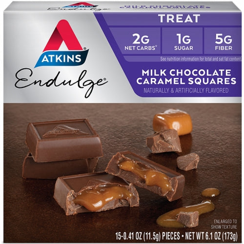 Milk Chocolate Caramel Squares 5 Bars by Atkins