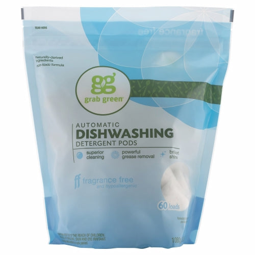 Automatic Dishwasher Pods Fragrance Free 60 Pods by Grab Green Automatic Dishwasher Pods Fragrance Free 60 PodsGrab Green